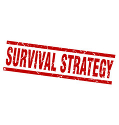 Square grunge red survival strategy stamp vector