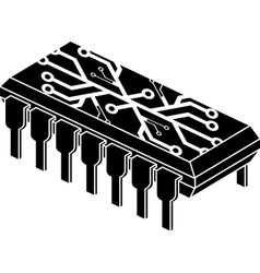 Stencil of chip with electronic pattern vector