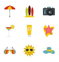 summer holidays icons set flat style vector image
