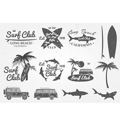 Surf club emblem retro badge and design elements vector image