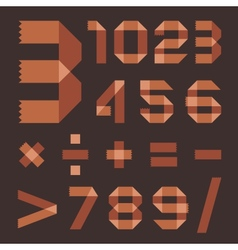 Font from brownish scotch tape - Arabic numerals vector image