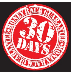 30 days money back guarentee stamp vector