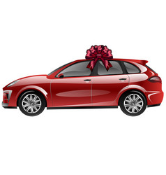 Red automobile with ribbon bow car as a gift vector