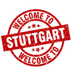 welcome to stuttgart red stamp vector image