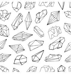 seamless pattern with minerals crystals gems vector image