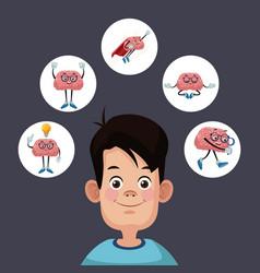 kid silhouette with brain cartoon vector image