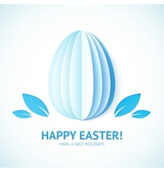Blue Happy Easter sign on paper egg vector image