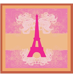 Vintage retro eiffel tower card vector