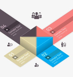 Modern business step origami style options banner vector