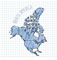 Blue pen hand drawn north america map on vector