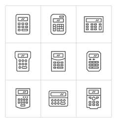 Set line icons of calculator vector