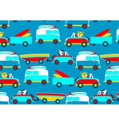 Animals driving to the beach beep beep repeat vector