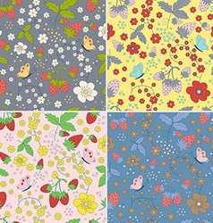 Set of seamless strawberry patterns vector