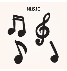 Set of hand-drawn music notes on white background vector