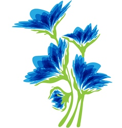 Blue flowers on a white background vector