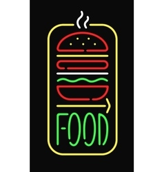 Fast food neon sign light restaurant cafe black vector