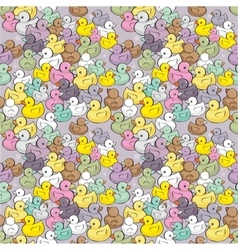 Seamless pattern with colorful baby ducks vector
