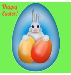 Happy easter rabbit with multi-colored easter vector