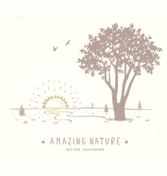 Tree silhouette nature vector