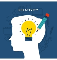Creativity icon and human head design vector
