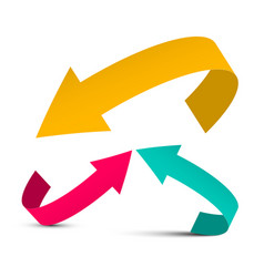 arrows yellow red and blue arrow vector image vector image