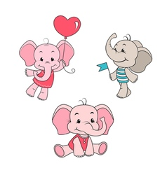 Baby elephant cartoon characters set vector image vector image