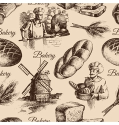 Bakery sketch seamless pattern vector image vector image
