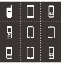 black mobile icons set vector image