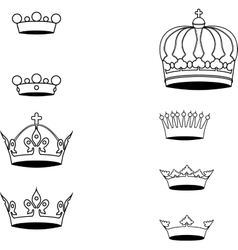 Collection of crown silhouette symbols vector image vector image