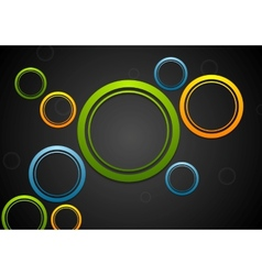 Colorful circles on dark background vector image vector image