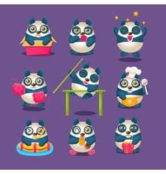 Cute Panda Emoji Collection With Humanized Cartoon vector image vector image