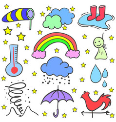 Doodle of weather style element vector