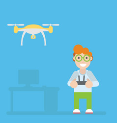 drone and guy with remote controls vector image