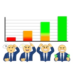 emotions of businessman when looking at graph vector image vector image