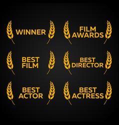 Film festival set laurel winner best film vector