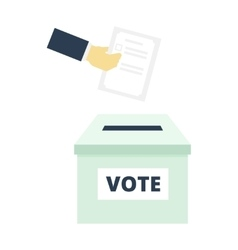Hand putting paper in the ballot box - flat vector