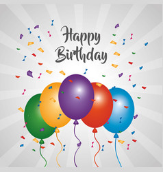 Happy birthday greeting card bright color balloons vector