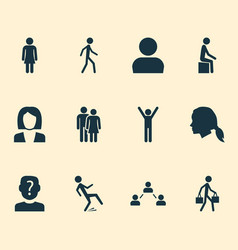 Human icons set with network gentlewoman head vector