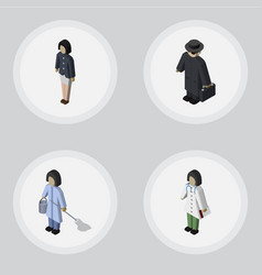 Isometric person set of housemaid girl detective vector