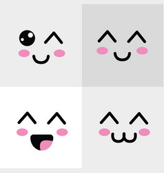 kawaii happys face icon vector image vector image
