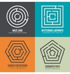 Labyrinth maze shape logo design set vector