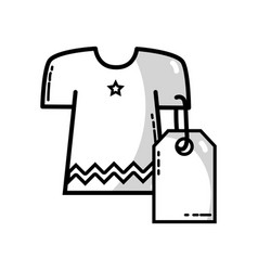 Line dress with tag to shopping new clothes vector