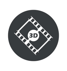 Monochrome round 3d movie icon vector
