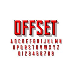 Offset printing style modern font vector
