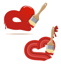 Paintbrush and painted red hearts vector image vector image