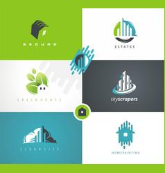 Real estates houses logo design vector