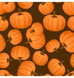 Seamless pattern with fresh ripe pumpkins vector image