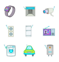 Smart home detectors icons set cartoon style vector