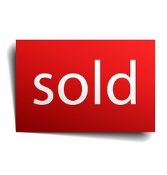 Sold red paper sign isolated on white vector