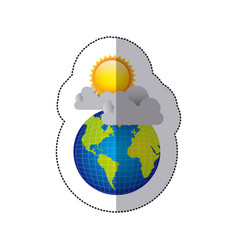 Sticker colorful earth world cloud with rain and vector